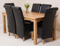 Furniture  - Aspen 180cm Solid Oak Dining Table & 6 Black Montana Leather Dining Chairs