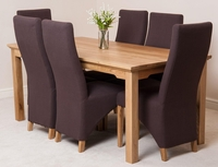 Furniture  - Aspen 180cm Solid Oak Dining Table & 6 Brown Lola Fabric Dining Chairs