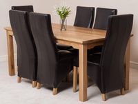 Furniture  - Aspen 180cm Solid Oak Dining Table & 6 Brown Lola Leather Dining Chairs
