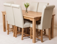 Furniture  - Aspen 180cm Solid Oak Dining Table & 6 Washington Ivory Leather Dining Chairs