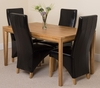 Bevel Solid Oak 150cm Dining Table & 4 Black Lola Leather Chairs