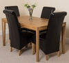 Bevel Solid Oak 150cm Dining Table & 4 Black Montana Leather Chairs