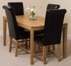 Bevel Solid Oak 150cm Dining Table & 4 Black Washington Leather Chairs