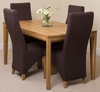 Bevel Solid Oak 150cm Dining Table & 4 Brown Lola Fabric Chairs