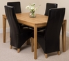 Bevel Solid Oak 150cm Dining Table & 4 Brown Lola Leather Chairs