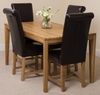 Bevel Solid Oak 150cm Dining Table & 4 Brown Washington Leather Chairs