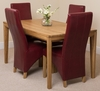 Bevel Solid Oak 150cm Dining Table & 4 Burgundy Lola Leather Chairs
