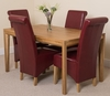 Bevel Solid Oak 150cm Dining Table & 4 Burgundy Montana Leather Chairs