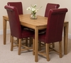 Bevel Solid Oak 150cm Dining Table & 4 Burgundy Washington Leather Chairs