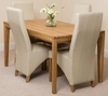 Bevel Solid Oak 150cm Dining Table & 4 Ivory Lola Leather Chairs