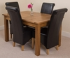 Tables Cotswold Rustic 132-198cm Extending Dining Table & 4 Black Montana Leather Chairs