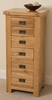 Cottage Light Solid Oak 6 Drawer Tall Boy