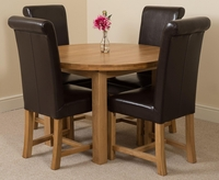 Tables  - Edmonton Oak Extending Round Dining Table 4 Brown Washington Chairs