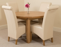 Tables  - Edmonton Oak Extending Round Dining Table 4 Ivory Montana Chairs