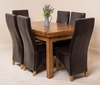 Chairs Farmhouse Rustic Solid Oak 160cm Dining Table & 6 Brown Lola Leather