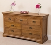 French Chateau Rustic Solid Oak 7 Drawer Chest