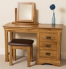 French Chateau Rustic Solid Oak Dressing Table,  Stool and Mirror Set
