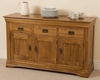 French Chateau Rustic Solid Oak Large Sideboard