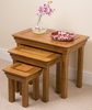 French Chateau Rustic Solid Oak Nest of Tables