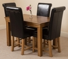 French Rustic Solid Oak 120 cm 4 Black Washington leather chairs