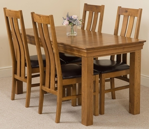 Furniture  - French Rustic Solid Oak 150 cm Dining Table with 4 Princeton Rustic Solid Oak Chairs