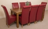 French Rustic Solid Oak 180 cm Dining Table with 8 Burgundy Montana Leather Chairs