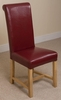 French Rustic Solid Oak 180 cm Dining Table with 8 Burgundy Washington Leather Chairs