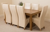 French Rustic Solid Oak 180 cm Dining Table with 8 Ivory Lola Leather Chairs