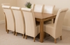 French Rustic Solid Oak 180 cm Dining Table with 8 Ivory Montana Leather Chairs