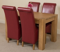 Furniture  - Kuba Solid Oak 125 cm and 4 Red Montana