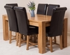 Kuba Solid Oak Dining Table & 6 Brown Washington Leather Chairs