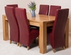 Kuba Solid Oak Dining Table & 6 Burgundy Lola Leather Chairs