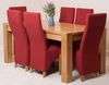 Kuba Solid Oak Dining Table & 6 Red Lola Fabric Dining Chairs