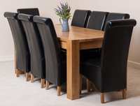 Furniture  - Kuba Solid Oak Dining Table & 8 Black Montana Leather Chairs