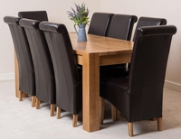 Furniture  - Kuba Solid Oak Dining Table & 8 Brown Montana Leather Chairs
