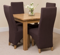 Oslo Solid Oak Dining Table and 4 Brown Lola Fabric Chairs