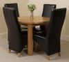 Portland Oak 92cm Round Dining Table with 4 Black Montana Chairs