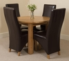 Portland Oak 92cm Round Dining Table with 4 Brown Lola Leather Chairs
