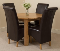 Furniture  - Portland Oak 92cm Round Dining Table with 4 Brown Montana Chairs