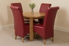 Portland Oak 92cm Round Dining Table with 4 Burgundy Montana Chairs