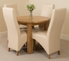 Portland Oak 92cm Round Dining Table with 4 Ivory Lola Leather Chairs