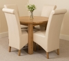 Portland Oak 92cm Round Dining Table with 4 Ivory Montana Chairs