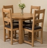 Portland Oak 92cm Round Dining Table with 4 Lincoln