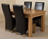 Richmond Oak 140 - 220 cm Extending Dining Table 4 Black Lola Leather Chairs