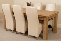 Furniture  - Richmond Oak 200 - 280 cm Extending Dining 6 Ivory Lola Leather Chairs