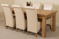 Furniture  - Richmond Oak 200 - 280 cm Extending Dining 6 Ivory Montana Chairs