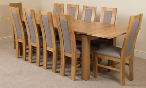 Richmond Oak 200 - 280 cm Extending Dining Table & 10 Stanford Solid Oak Fabric Chairs
