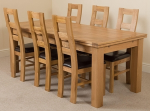 Richmond Oak 200 - 280 cm Extending Dining Table & 6 Yale Solid Oak Leather Chairs
