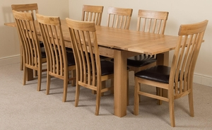 Richmond Oak 200 - 280 cm Extending Dining Table & 8 Harvard Solid Oak Leather Chairs