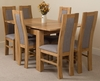 Richmond Oak 90 - 150 cm Extending Dining Table & 6 Stanford Solid Oak Fabric Chairs